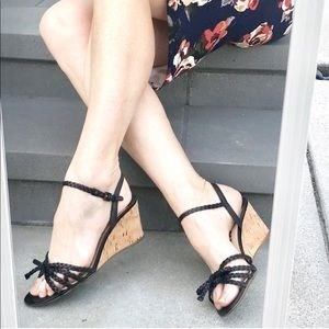 PRADA black LEATHER sandal wedge heels Strappy 8